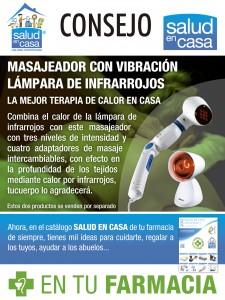 Masajeador con vibración y lámpara de infrarrojos